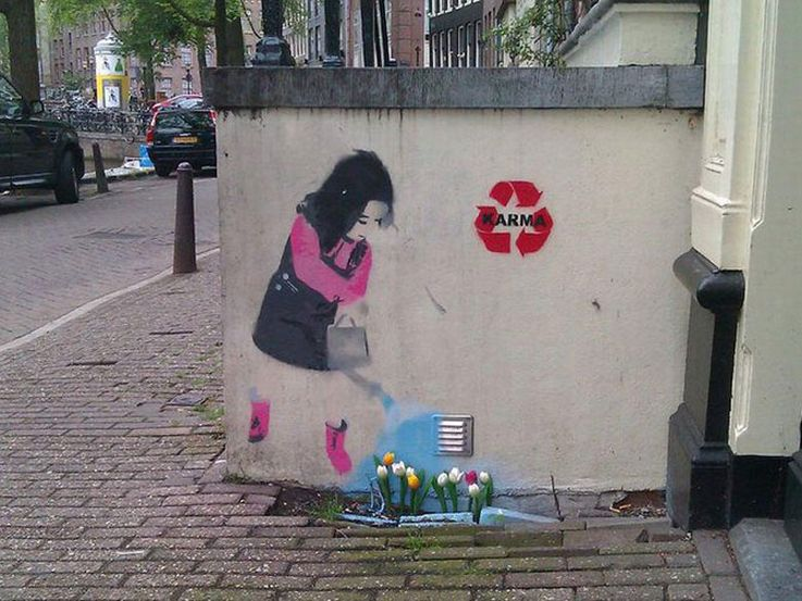 Girl Watering Flowers Graffiti