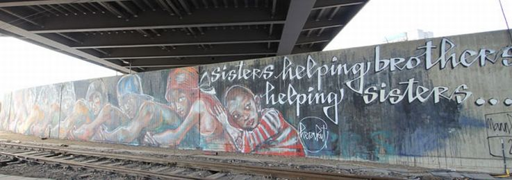 Brothers Sisters Helping Graffiti